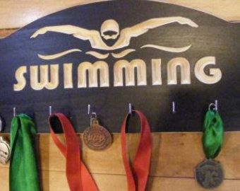 Swimming Medals Hanger  : Sports Medal Display Rack  Ribbon Awards Hanger Swimming medals holder