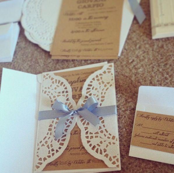 Shabby chic baptism/wedding invitations kraft paper, doilies