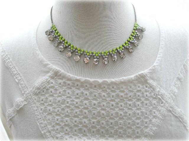 Rhinestone Necklace in Neon Yellow and Grey  by Marika King Designer Jewellery  #neon #rhinestone