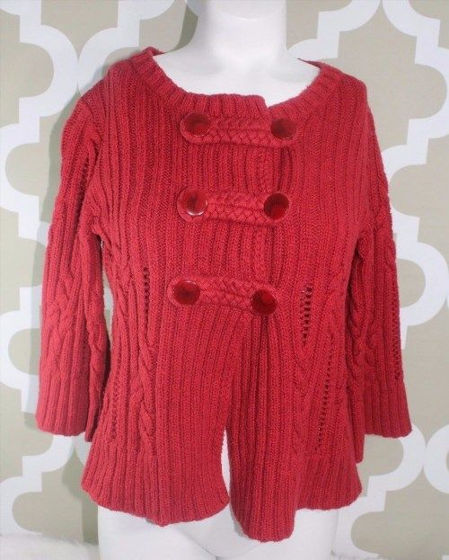 """11.29$  Buy now - http://vijue.justgood.pw/vig/item.php?t=c4xgswe34763 - """"Heather B"""" Chunky Cable Knit Cardigan Sweater Deep Red Cotton Blend Bell B3 11.29$"""
