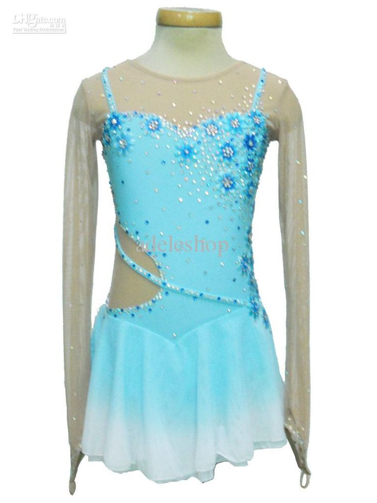 Beautiful light blue skating dress. If I ever skated to let it go I'd wear this!
