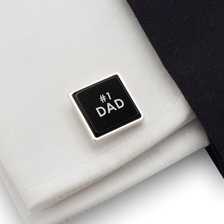 Dad cufflinks gift idea Sterling silver Onyx Cufflinks with 1 DAD engraved on onyx. FREE engraving great for Gift Idea, Dad, Birthday Gift, Groom, Wedding or any special occasion.