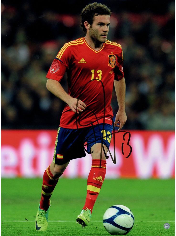 Juan Mata Signed Spain Team 12x16 Photo: In Action ( Icons Auth & Third Party Holo)