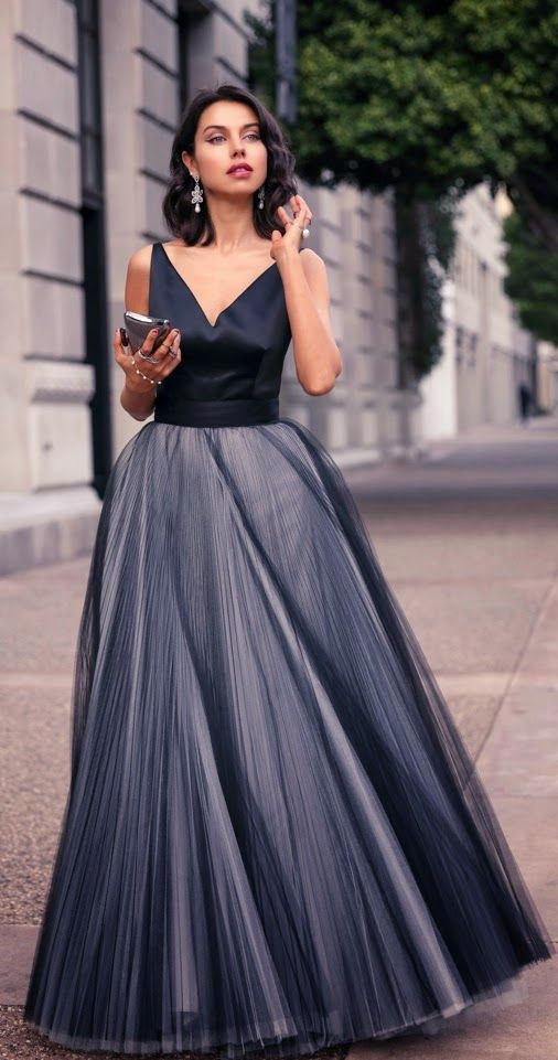 Grey Milly V-Neck Faux Tulle # Love Fashion & Inspiration