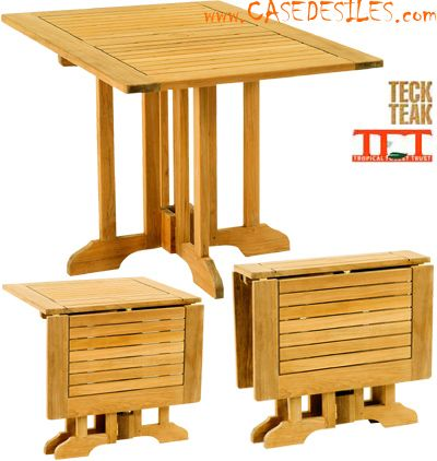 Table teck modulable pliable design carré Papillon Pas Cher | salon ...