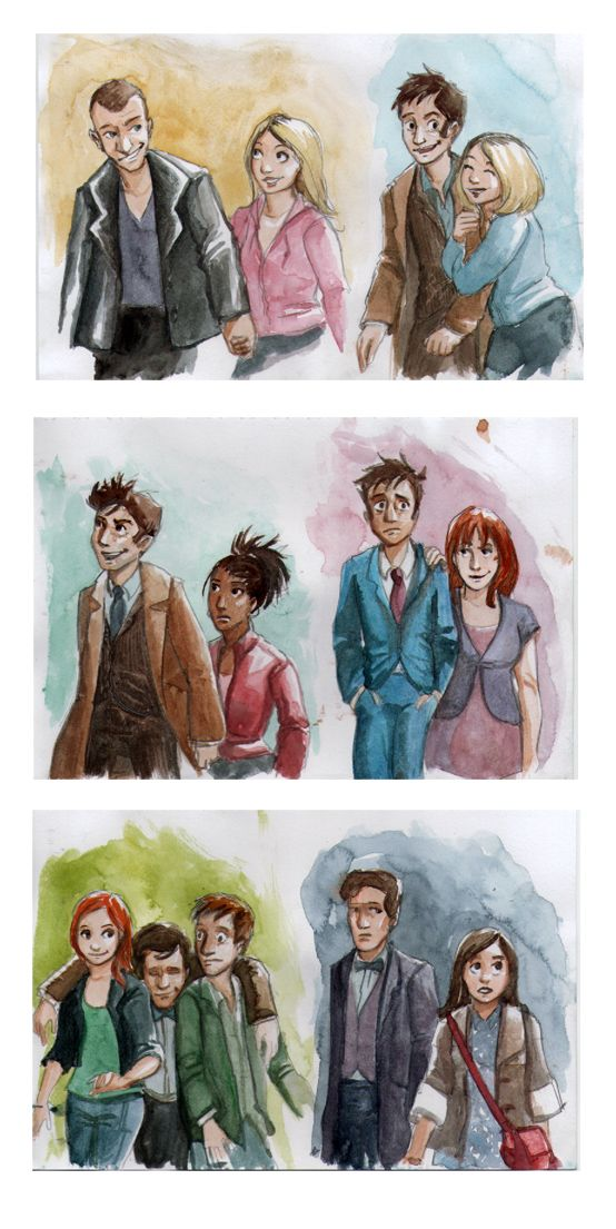 New Doctors and Companions by ~Alda-Rana on deviantART | He is so fresh faced in the beginning and then.... -_-