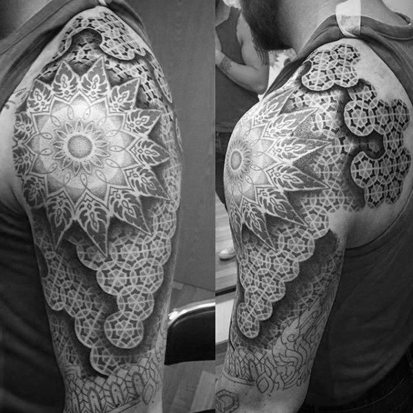 50 Geometric Arm Tattoo Designs For Men Bicep Ink Ideas Tattoo Designs Men Arm Tattoo Tattoo Designs