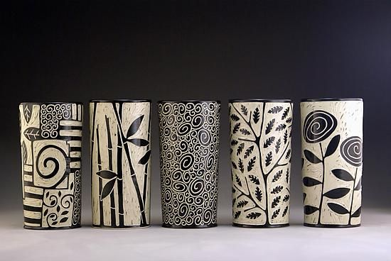 """""""Cylinder Vases"""" Ceramic Vessel Created by Jennifer Falter; Photograph by: Nathan Falter"""