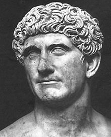 Mark Antony, Roman politician, general and brother-in-law of Augustus. Initially allies after Julius Caesar's assassination, ultimately, the two became enemies and Mark Antony committed suicide after Augustus defeated Cleopatra and Mark Antony at the Battle of Antium.