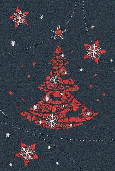 Rote Weihnachtskarten.Weihnachtskarte In Anthrazit Metallic Mit Filigraner Laserstanzung