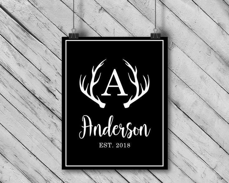 Personalized Monogrammed Deer Antlers Wedding Gift // Family Name Sign // Custom Monogram // Wedding Sign// Deer Art // Typography by fiftysevenink on Etsy https://www.etsy.com/ca/listing/599511767/personalized-monogrammed-deer-antlers
