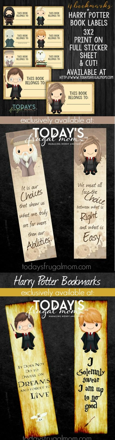 Come and grab these custom and exclusive printable Harry Potter bookmarks + book labels for the Harry Potter fans in your house! :: todaysfrugalmom.com