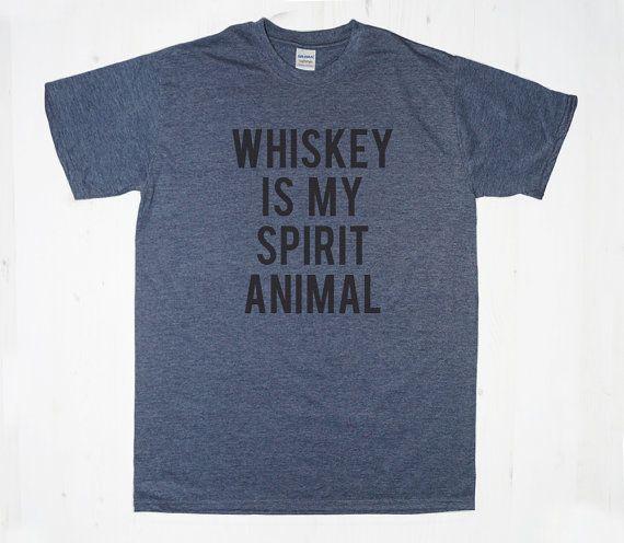 Whiskey is my Spirit Animal TShirt Tee T-Shirt Mens Womens Unisex Gift Funny Humour