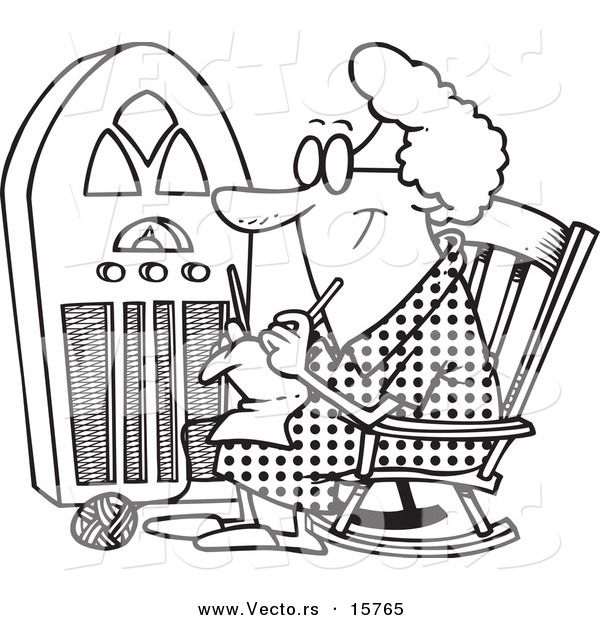 Vector Of A Cartoon Granny Knitting By A Radio Outlined Coloring Page Drawing Coloring Pages Drawings Drawing Inspiration
