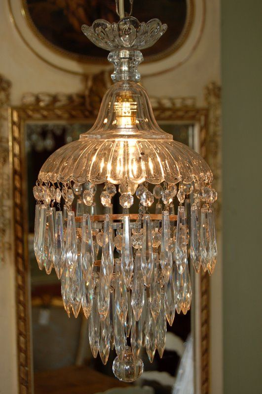Antique Late Victorian Crystal Waterfall Chandelier