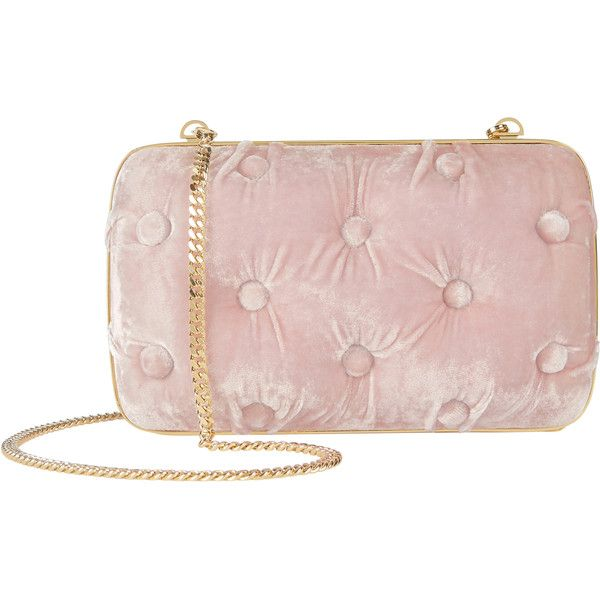 Carmen Tufted Pink Velvet Clutch ($740) ❤ liked on Polyvore featuring bags, handbags, clutches, pink, pink handbags, chain strap purse, velvet purse, pink clutches and velvet handbags
