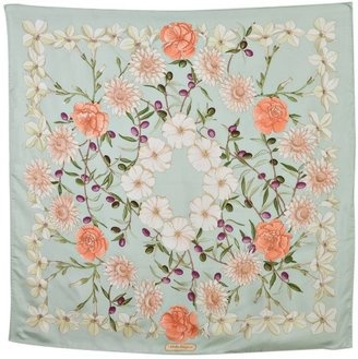 ShopStyle: Ferragamo mint floral print silk scarf