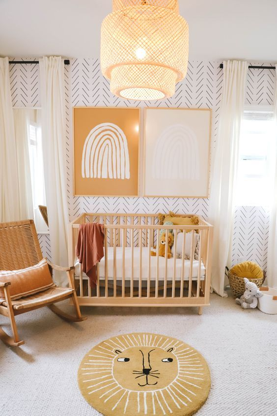 Nurseries A beautiful gender neutral nursery makeover with herringbone wallpaper accent wall! Baby Room Design, Baby Room Decor, Nursery Room, Girl Nursery, Design Girl, Wall Paper Nursery, Baby Boy Rooms, Baby Boy Nurseries, Yellow Baby Rooms