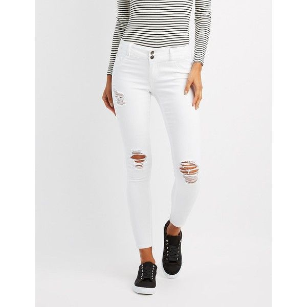 Cello Destroyed Skinny Jeans ($35) ❤ liked on Polyvore featuring jeans, white, white skinny leg jeans, white denim skinny jeans, white ripped skinny jeans, distressed jeans and low rise jeans