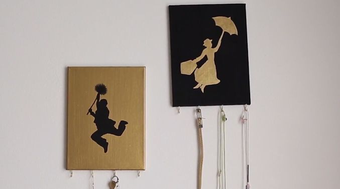 DIY Disney his and her wall hooks. Could do Peter and Wendy, or any other iconic characters.