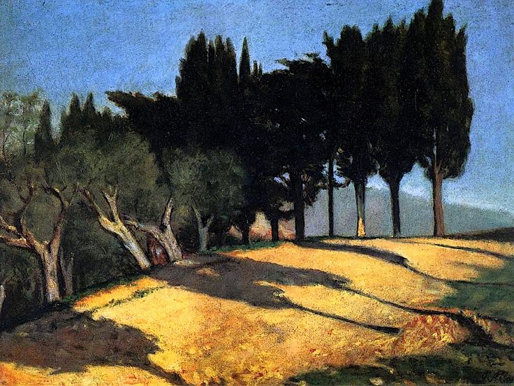 Country Road with Cypresses Giuseppe Abbati - circa 1860