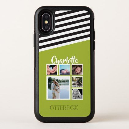 Personalized Green Stripe Pattern Black White OtterBox Symmetry iPhone X Case - stripes gifts cyo unique style
