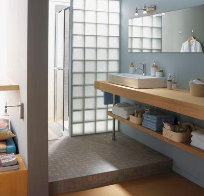 Les 25 meilleures id es concernant salle de bains brique for Pave verre salle de bain