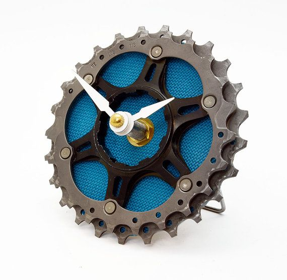 Bike Clock Recycled Bicycle Cog Desk Clock by treadandpedals