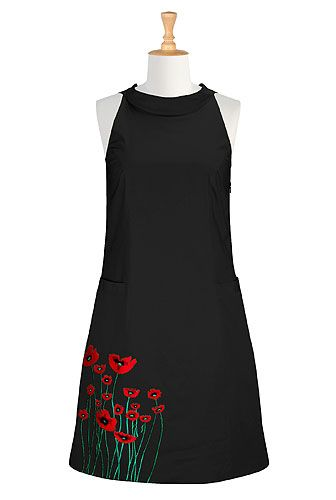 Expert seaming lends flattering shape to our comfortably fitted and embellished floral dress styled with a wide high-collar front and keyhole back with rouleau-button closure.