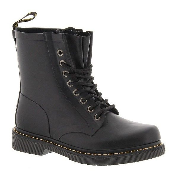 Dr Martens Drench 8-Eye Boot ($100) ❤ liked on Polyvore featuring shoes, boots, black, dr martens footwear, rubber sole boots, ski shoes, kohl shoes and dr. martens