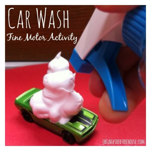 This is right up Brysen's ally: Hot Wheel Car Wash. This improves fine motor when he has to push on the shaving cream can and when he squirts with the sprayer. You can also add in a tooth brush for even more fine motor work. If you wanted you could let him paint the cars with washable paint before hand (another Fine motor activity) so he really has to wash the whole car.