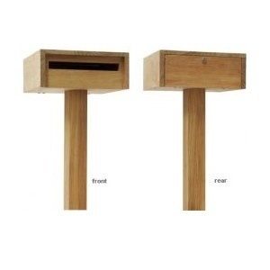 Robert Plumb Todd Free-standing Letterbox: Modern design incorporating a weather flap. Large entry slot and large door makes mail easy to remove, safety lock. Constructed from New Guinea Rosewood.