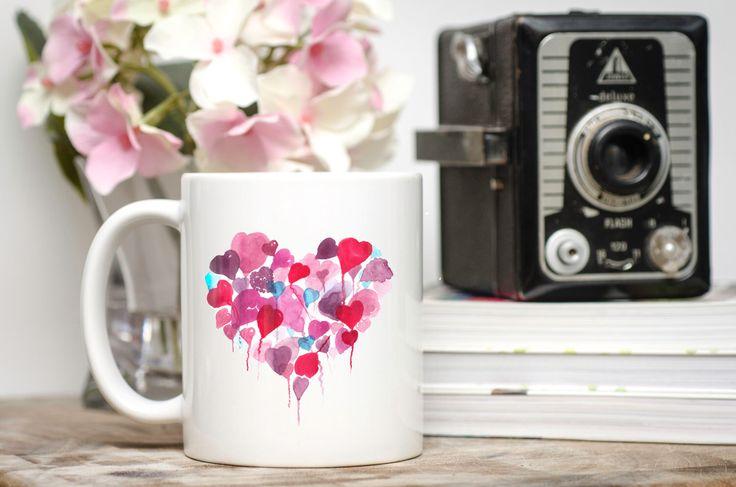 Floating Hearts Mug - Handmade Art, Watercolour Artist Mug. Heart Mug. Balloons. Personalised. Mothers Day Gift. Mug and Card Set. by SueRocheIllustration on Etsy https://www.etsy.com/listing/262639567/floating-hearts-mug-handmade-art