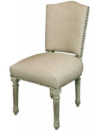 Pair of Linen Studded Dining Chairs - £395.00 - Hicks and Hicks