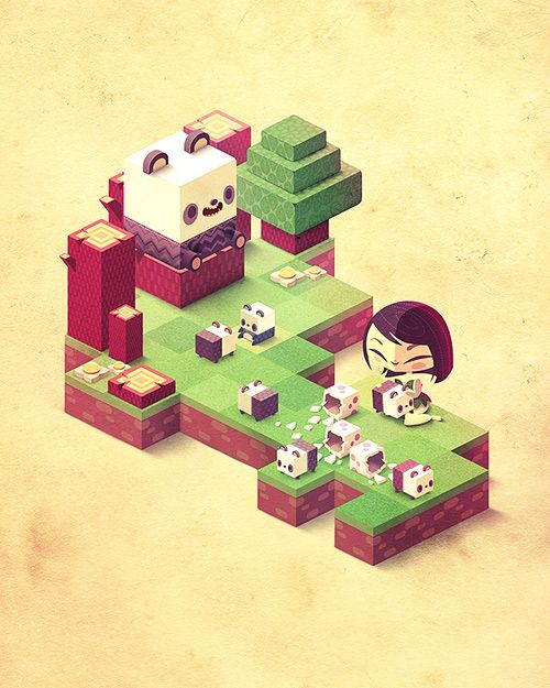 I like the colors in this image, zen and sweet. Imagine: you can collect little cute cubic characters or objects when you complete several puzzles! You can put it in a empty scene. After, you can share your scene or echange some items with your friends. I think it could be interesting to have your own world made with cubes,!