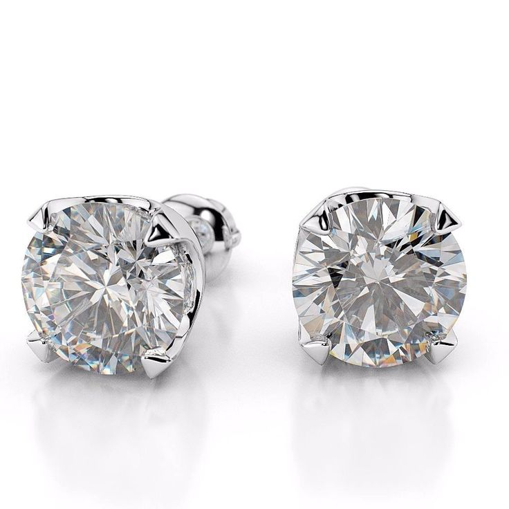 New 14KT White Gold Round Solitaire Diamond Stud Earrings 0.60 CT H/SI #Stud
