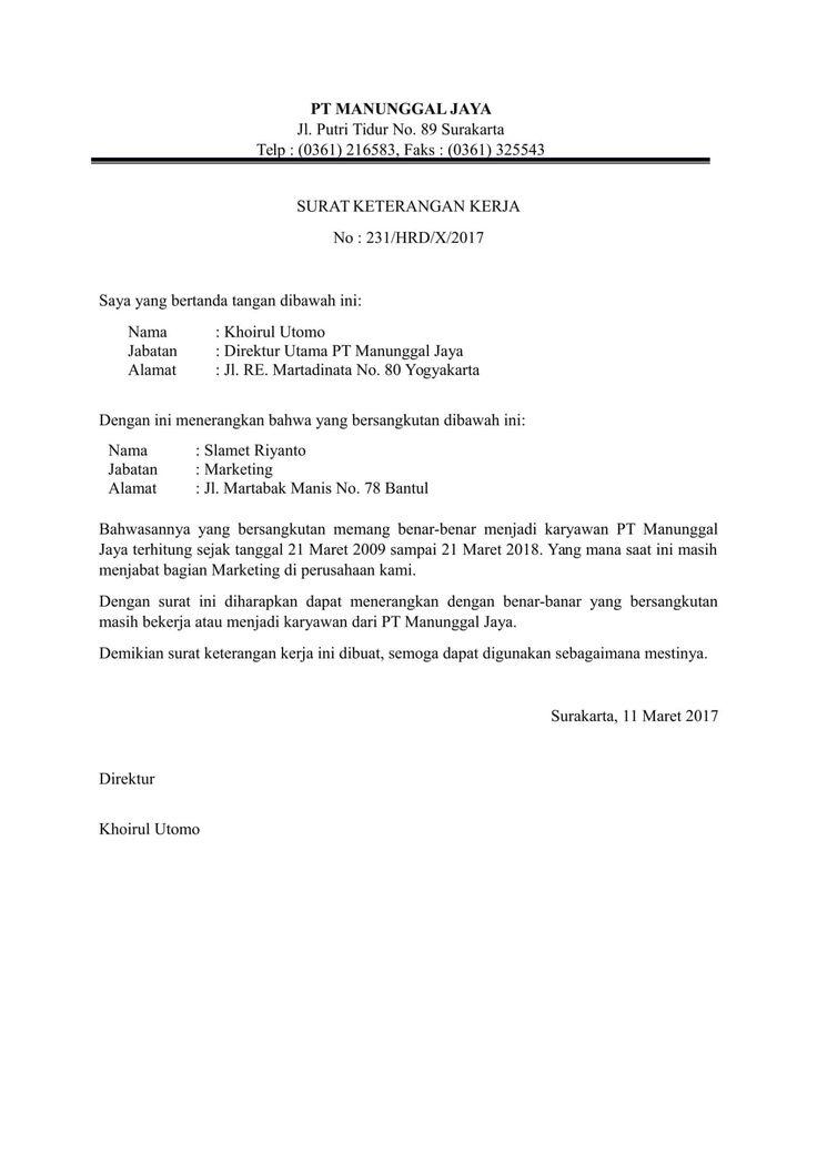 Download 11 Contoh Surat Keterangan Pengalaman Kerja ...
