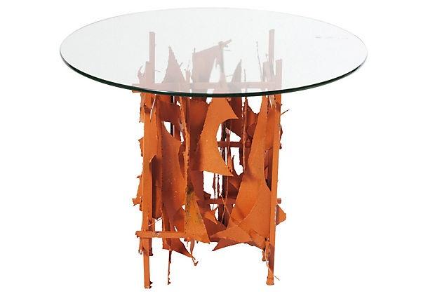 midcentury steel & glass side table