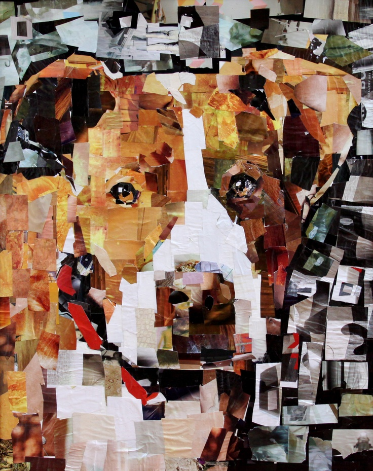 "Isaboo. Collage on Canvas. 24 x 30"".   Artist: Samuel Price  www.mydogcollage.com"
