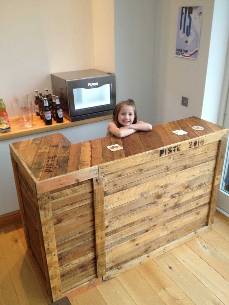 """#Bar, #Kitchen, #RecyclingWoodPallets My first attempt at building anything, pallets came from neighbours, and I bought some 2"""" by 2"""" for the frame and added in some chipboard shelves. Two pieces clamped together, and the bar top screwed down in three places."""
