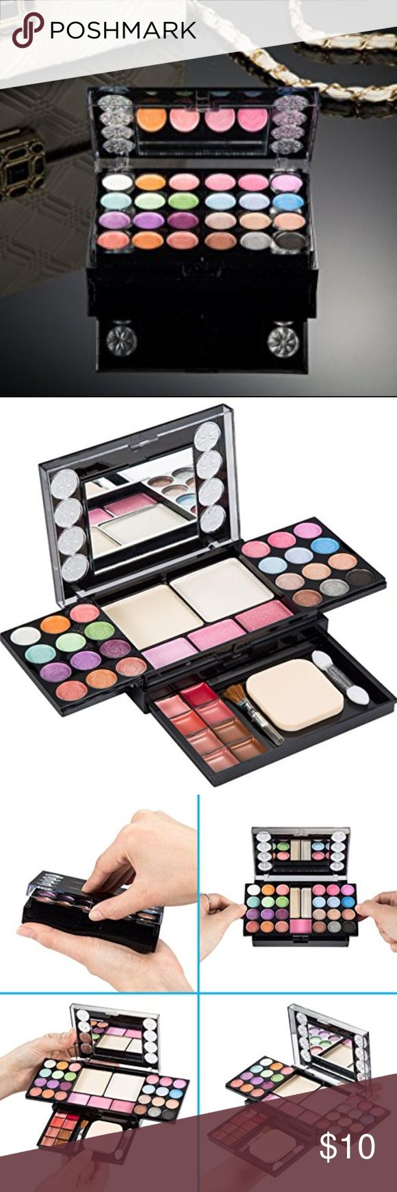 Eyeshadow Palette with 37 Colors/Lip Gloss/Brushes Meet All Your Makeup Needs! This eyeshadow palette comes with 24 matte and shimmer eyeshadow colors, 8 lip glosses, 3 blushes, 2 pressed powder and 3 makeup brush tools. Covers all your makeup needs! Just open the makeup kit and pull the layers out to start. No matter if you are professional artist or beginner, it is a must have in your dresser or small enough to put into your handbag or purse.This palette has passed the MSDS and non-toxic…