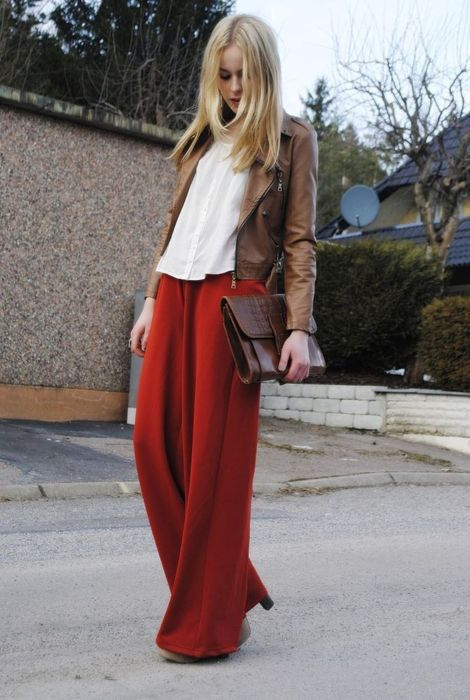brown jacket + red pants.