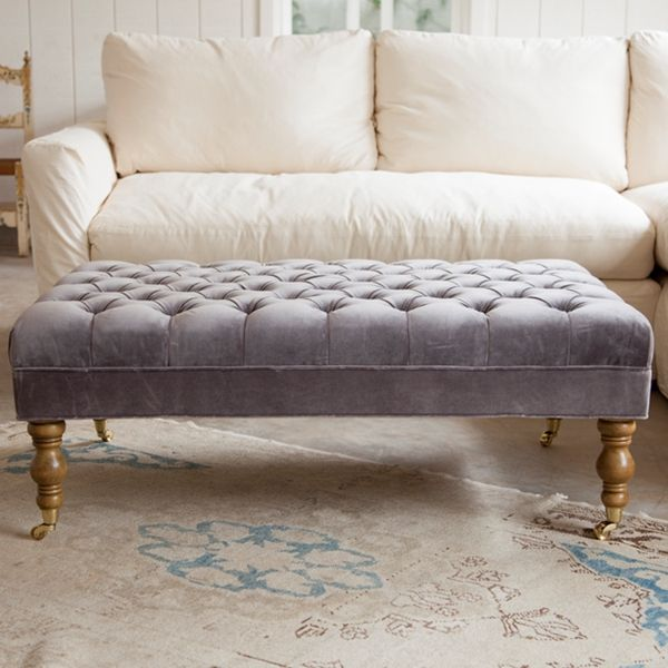 """Liliput"" long tufted ottoman in pale lilac purple from Shabby Chic Couture by Rachel Ashwell."