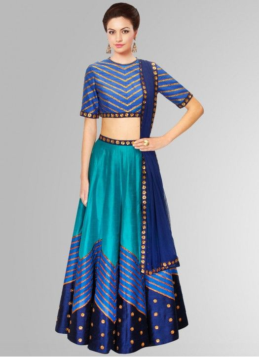 Blue Raw Silk Navratri Special Designer Lehenga Choli #Lehenga #Blue #Printed…
