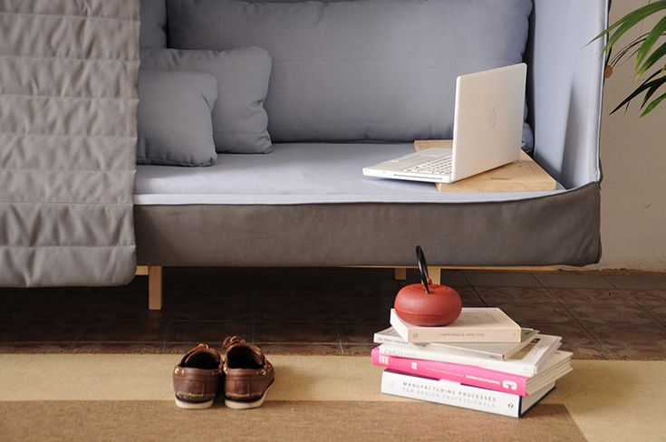 """Shut out the world with this day bed/adult fort, the """"Orwell."""" Noise cancelling curtains keep out both sound and light allowing you to read or nap in peace. Find out more about it here!"""
