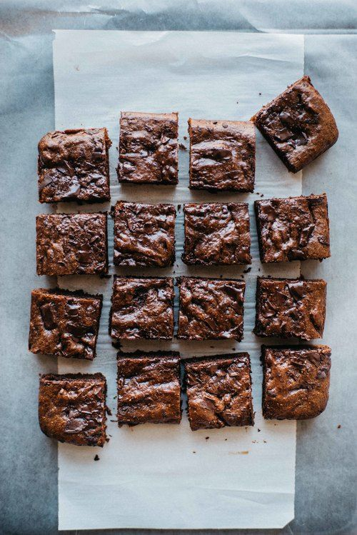 The addition of hazelnut to these brownies sounds delicious. And, they're gluten free -- hazelnut butter brownies from dolly and oatmeal