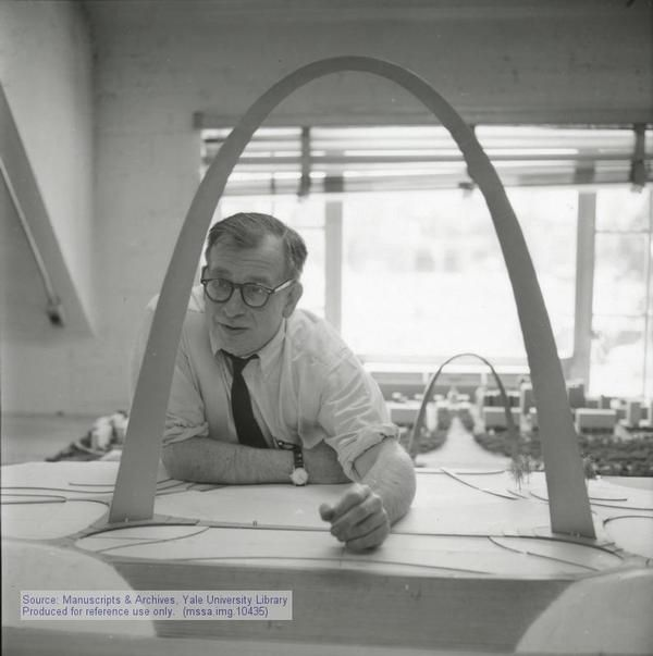 Eero Saarinen developing the St. Louis Gateway Arch.  This photo was taken on June 3rd, 1958 by Tony Vaccaro.