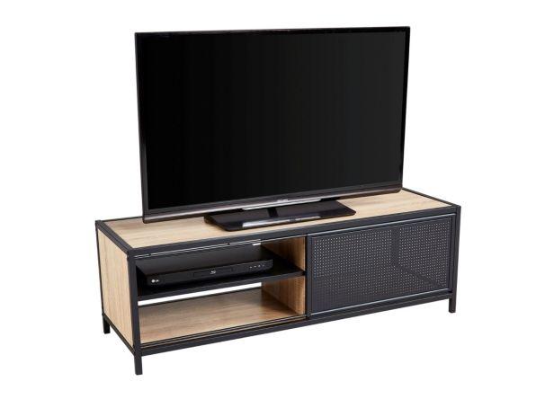 prix compétitif cf6e1 a2c58 Meuble TV industriel OSKAR Noir/chêne | Déco Industrielle en ...