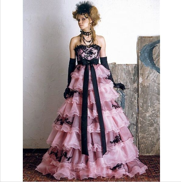 Pink A-line Floor-length Wedding Dresses 2017 Off the Shoulder Strapless Organza Tiered Ruffles Gothic Bridal Gowns Custom Made