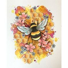5D DIY Diamond Painting Drawing of Bumble Bee in Flowers – craft kit – RinniRoo87 .3.